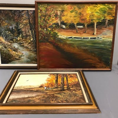 Group of 3 framed paintings
