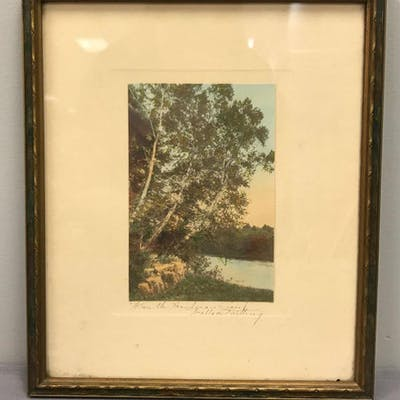 Vintage Wallace Nutting framed hand tinted print