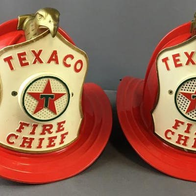 Group of 2 Vintage Childrens Texaco Fire Chief Hats