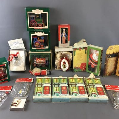 Group of Vintage Christmas Ornaments and Decorations
