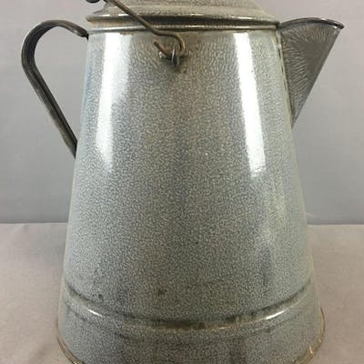 Vintage Gray Enamelware Coffee Pot