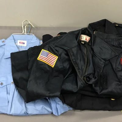 Group of uniform shirts and jackets
