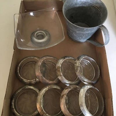 Group of Amston Sterling 144 Rimmed Coasters and more