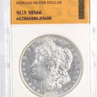 1886 P Morgan Silver Dollar (SGS) Graded.