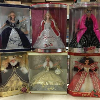 Group of 6 Special Edition Holiday Barbies and more