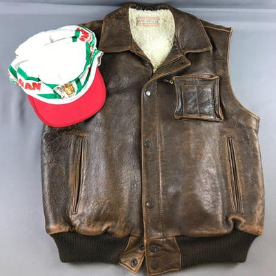 Vintage Adam Spencer leather vest and hats