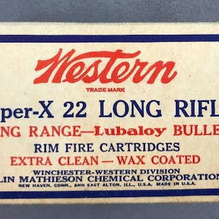 Box of Western Super X 22 long rifle ammunition