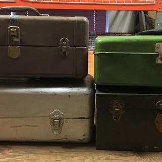 Group of 4 Metal Fishing Tackle Boxes