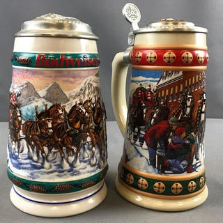 Group of 2 Budweiser Holiday artist signed steins