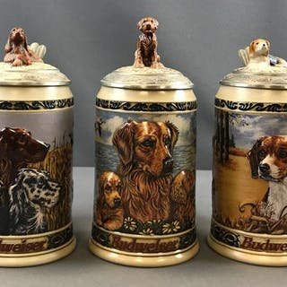 Group of 5 Budweiser Hunters Companion Series steins