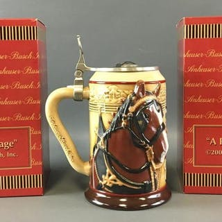 Group of 2 Anheuser-Busch A Proud Heritage 1 Signed Steins