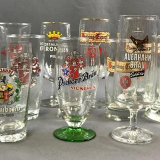 Group of 16 beer glasses in various styles
