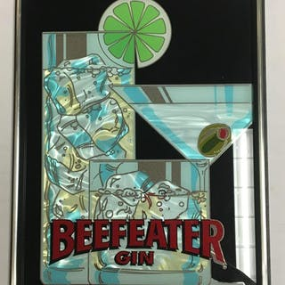 Vintage Beefeater Gin Advertising Mirrored Sign