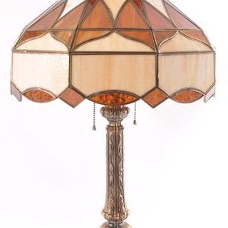Vintage Table Lamp with Stained Glass Amber Shade
