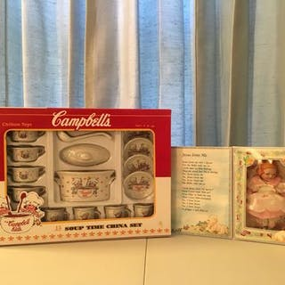 Group of 2 Campbell?s Tea Set and Doll