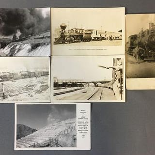 Group of 6 Real Photo Postcards-Locomotives