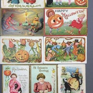 Group of 9 Halloween Postcards