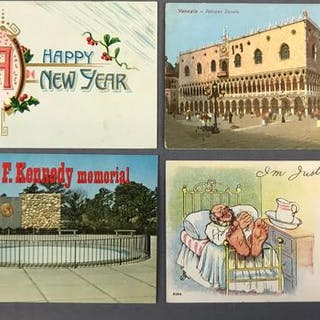 Large Group of Mixed Greetings Vintage and Antique Postcards