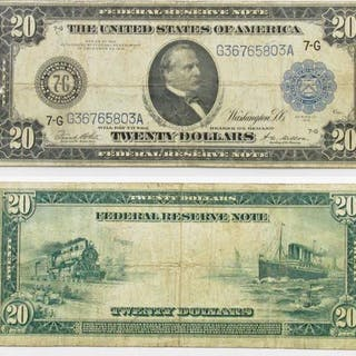 1914 $20 Federal Reserve Note - Blue Seal- Chicago, Illinois.