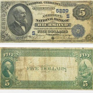 1882 $5 National Currency Note - Richmond, Virginia.