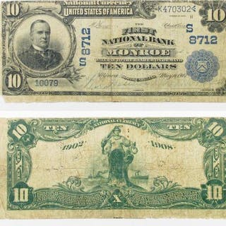 1902 $10 National Currency Note - Monroe, North Carolina.