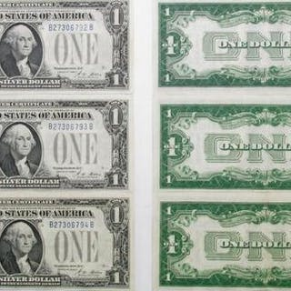 Group of (3) Consecutive 1928-A $1 Silver Certificate Notes.