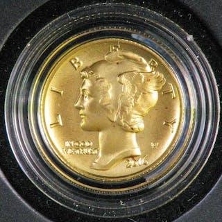 2016 W Mercury Dime Centennial Gold Coin.