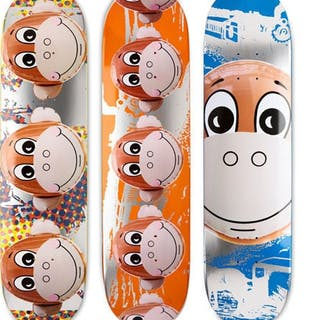 SET OF THREE SKATEBOARDS - JEFF KOONS