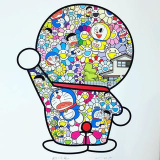 DORAEMON IN THE FIELD OF FLOWERS - TAKASHI MURAKAMI