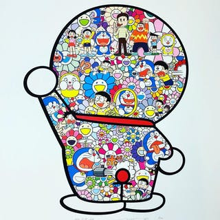 M. FUJIKO, F. FUJIO AND DORAEMON ARE IN THE FIELD OF FLOWERS - TAKASHI MURAKAMI