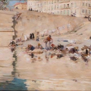 Washerwomen on the banks of the Seine, Paris