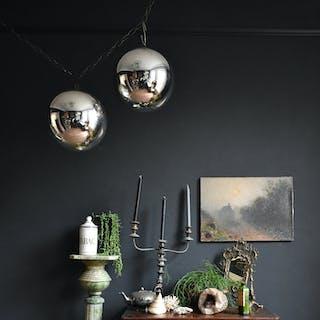 "10"" Mercury Glass Witches Balls, 19th Century"