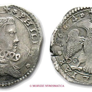 Kingdom of Sicily Philip IV of Spain 4 TARI' 1664 Messina SILVER italian coin