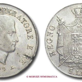 Kingdom of Italy NAPOLEON I 5 LIRE 1809 Milan SILVER italian coin
