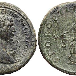 TRAJAN. Æ, Sestertius. 98-117 AD. Rome mint. SPQR OPTIMO PRINCIPI. Pax