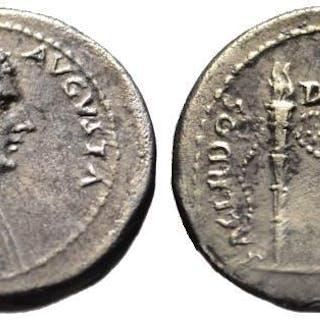 Antonia AR denarius - SACERDOS DIVI AUGUTI torches - Extr. Rare