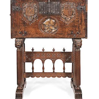 A Spanish early 17th century carved walnut and line-inlaid vargueno