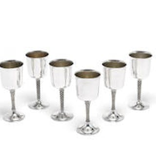 A set of six silver goblets by Garrard & Co, London 1972 - 1978, stamped