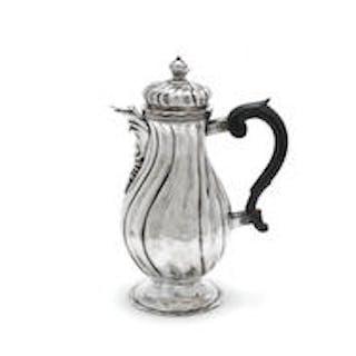 An 18th century German silver chocolate pot by Jakob Wilhelm Kolb
