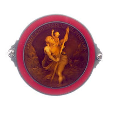 A fine silver and enamel St Christopher plaque by A. M Langlois, 1930s