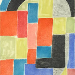 Sonia Delaunay (1885-1979) Composition Etching and aquatint printed