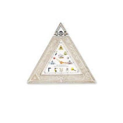A white metal masonic manual wind triangular pocket watch Circa 1990