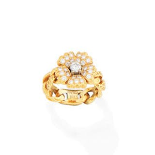 A diamond flower ring, by Versace