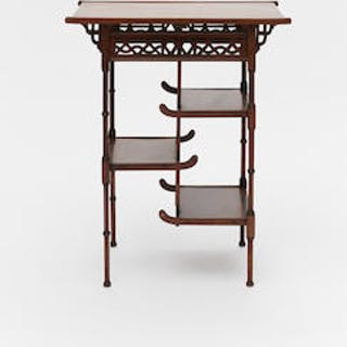 A SMALL HONGMU TIERED DISPLAY STAND