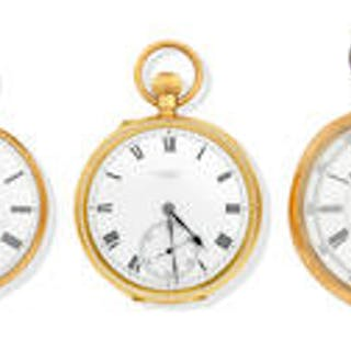Three 18ct gold open faced pocket watches