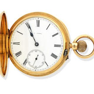 A 18ct gold keyless full hunter pocket watch A. Lessel, London, 1896