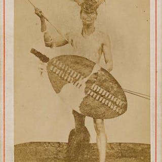 Albumen Print Carte De Visite Of A Zulu Warrior Posed Current Sales Barnebys