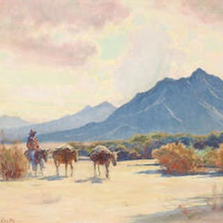 Gordon Coutts (1875-1937) Desert Prospector 24 x 28in