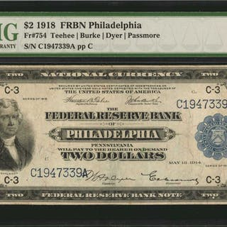 Fr. 754. 1918 $2  Federal Reserve Bank Note. Philadelphia. PMG Choice Fine 15.