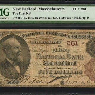 New Bedford, Massachusetts. $5  1882 Brown Back. Fr. 466. The First